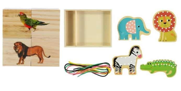 Animals Wooden Threading Set & Blocks
