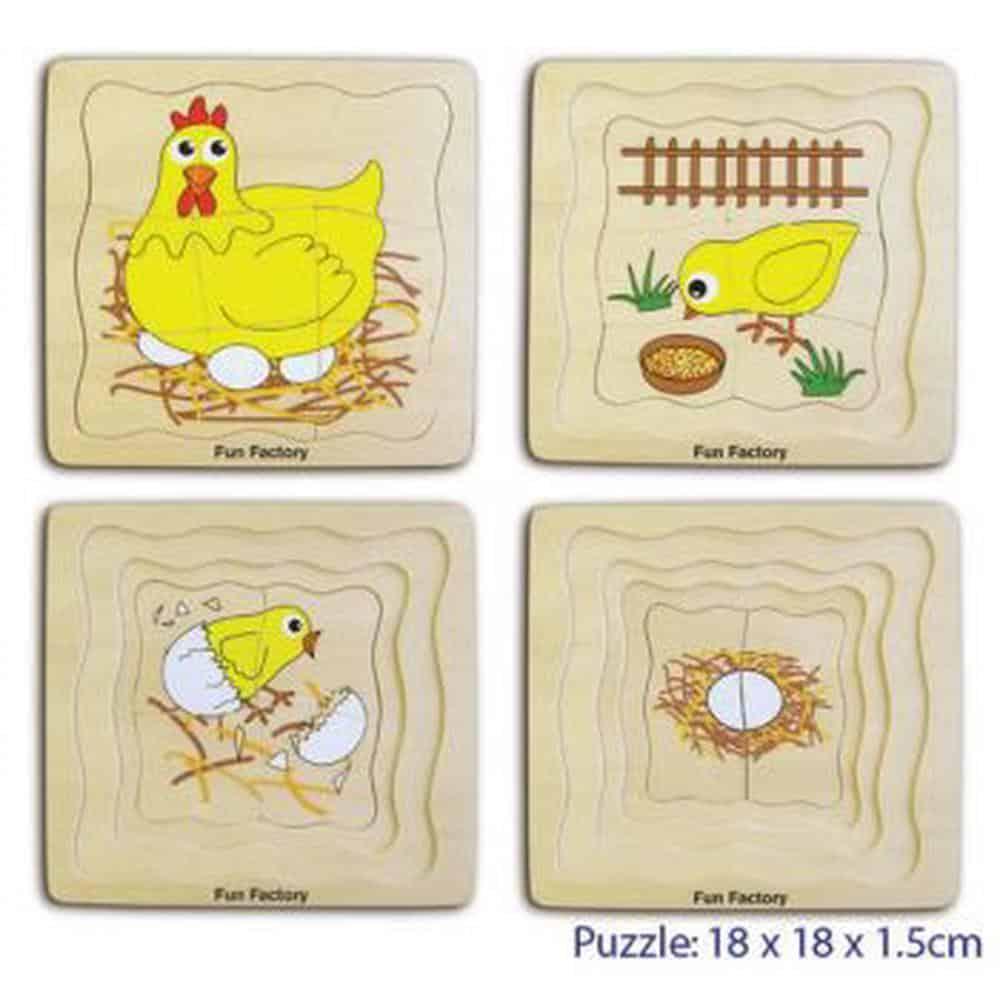 Wooden 4 Layer Chicken Puzzle