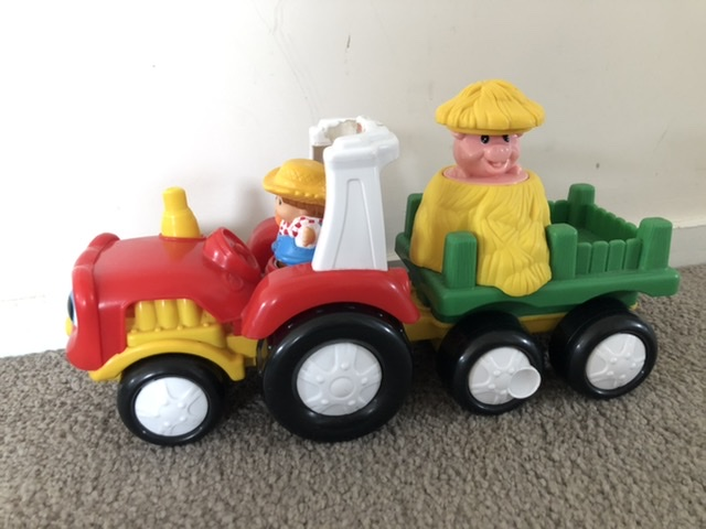 Little People Farm Tractor with Hay Trailer photo